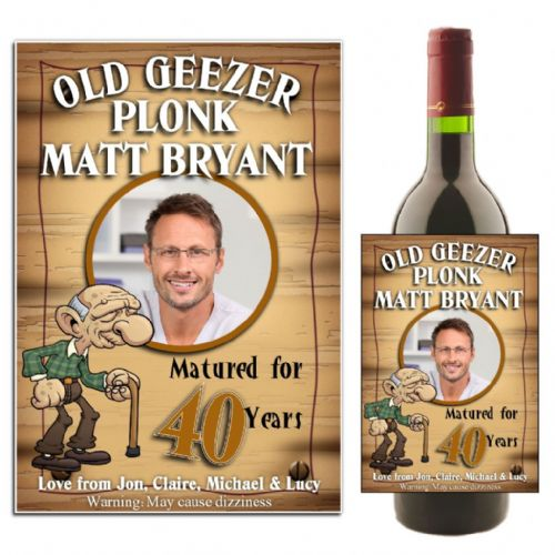 Personalised Old Geezer Birthday Wine / Champagne Bottle PHOTO Label N11